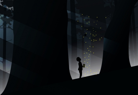 Kid Catching Firefly In Forest Background Silhouette Style Vectors