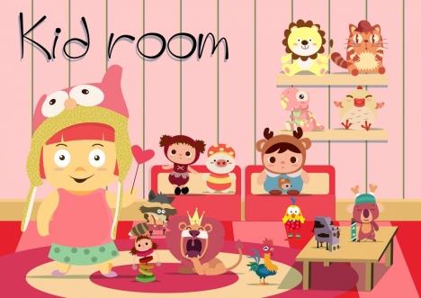 kid room advertisement 3d colored cartoon design