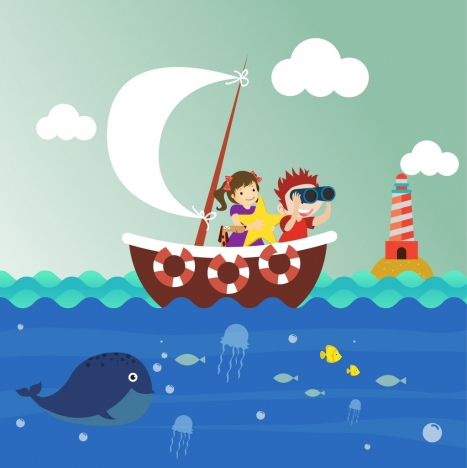 kids background sailing marine species icons cartoon design