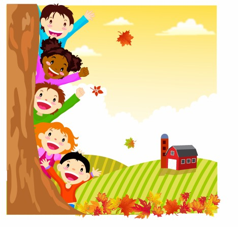 Kids Hiding Behind Autumn Tree