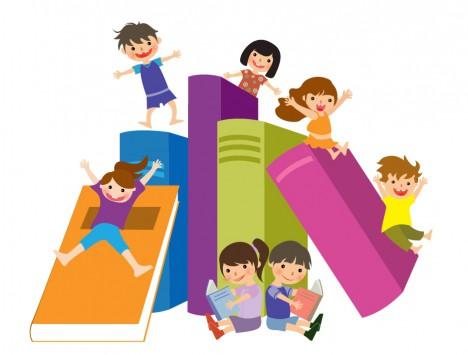 Kids jumping on books