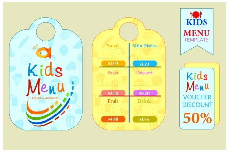 kids menu sets design with colorful cute styles