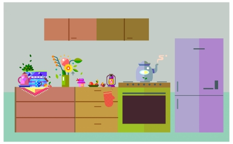 kitchen arrangement design with colored flat style