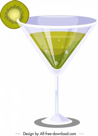 kiwi cocktail advertising shiny green white decor
