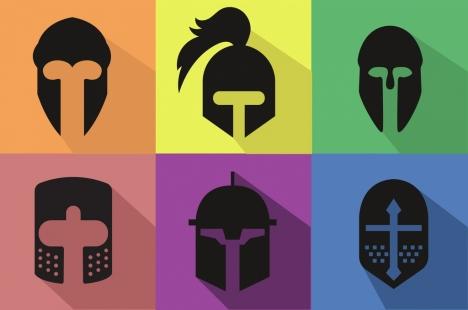 knight helmets icons flat black design