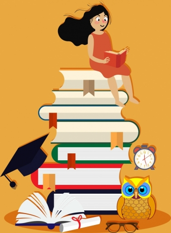 knowledge conceptual drawing reading girl huge books stack icons