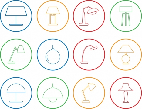 lamp icons outline colored flat design circle isolation
