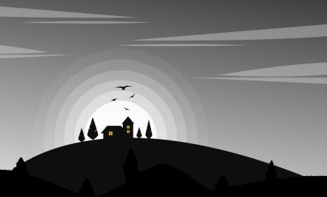 landscape drawing hill moonlight bird decor