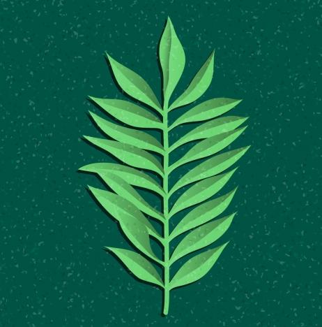 leaf background paper cut design green monochrome design