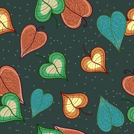 leaves background colorful heart shapes classical flat design