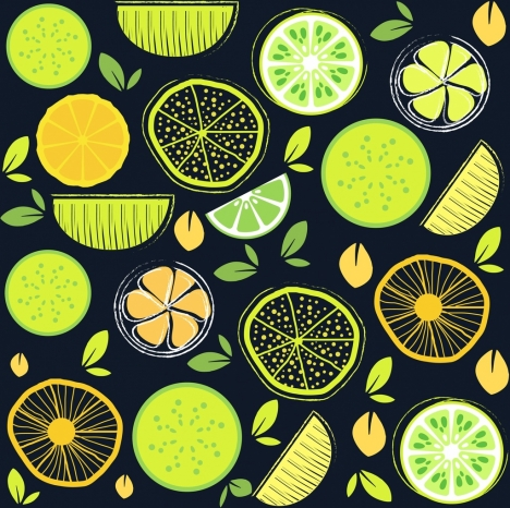 lemon background multicolored repeating flat decor handdrawn style