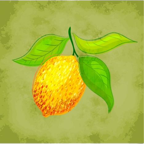 lemon drawing multicolored icon retro design