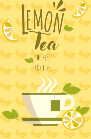 lemon tea advertising cup yellow repeating icons background
