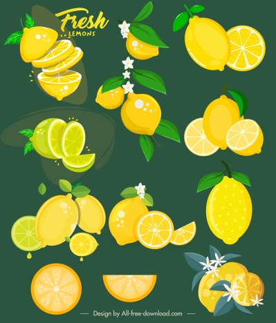 lemons background template bright yellow green slices sketch