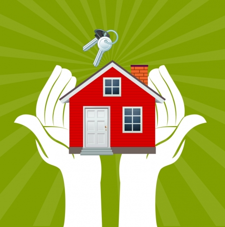 life demand concept hand holding house icon