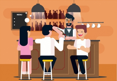 lifestyle background gathering friends pub icons cartoon characters
