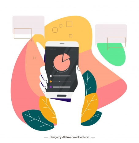 lifestyle background hand smartphone sketch colorful flat design