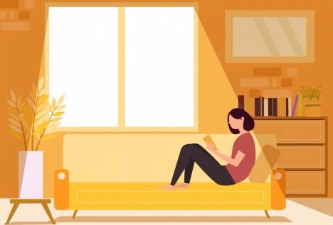 lifestyle background reading woman sofa sunlight icons