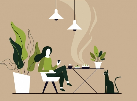 lifestyle background relaxed woman meal icons cartoon sketch