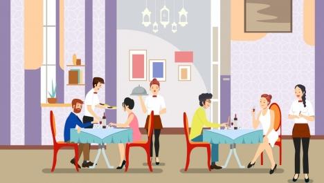 lifestyle background restaurant dating theme cartoon design