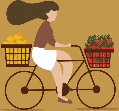 lifestyle background woman riding bicycle icon cartoon sketch