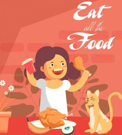 lifestyle banner girl cat food icons cartoon design