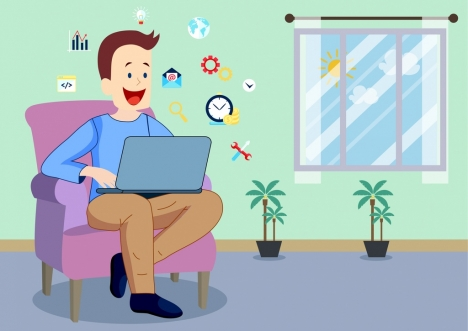 lifestyle drawing man surfing internet icon colored cartoon