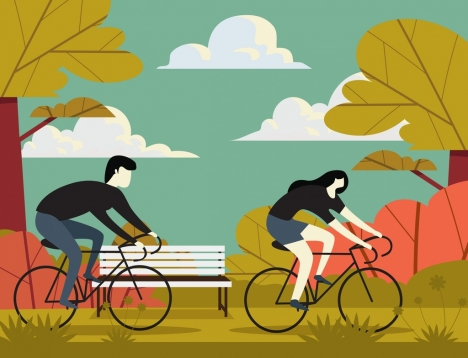 lifestyle painting people riding bicycle icons cartoon sketch