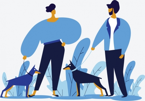 lifestyle painting walking people pets icons blue decor