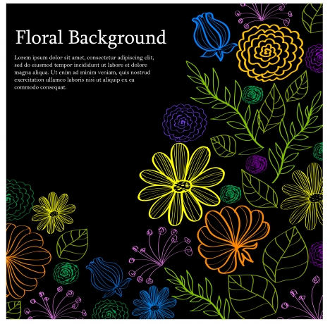 light floral on dark background