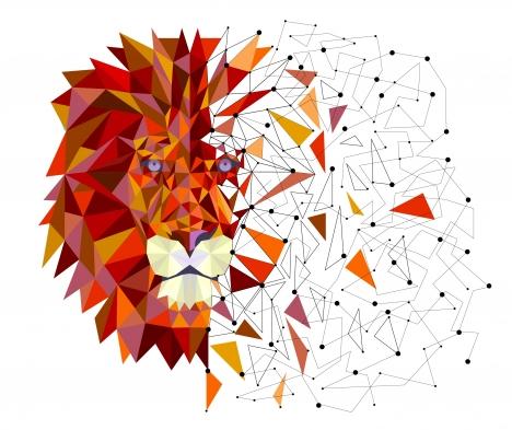 lion head in geometric design vector