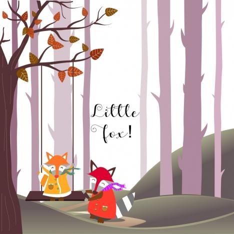 little fox background colored stylized cartoon decor