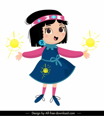 little girl icon cute cartoon character sketch