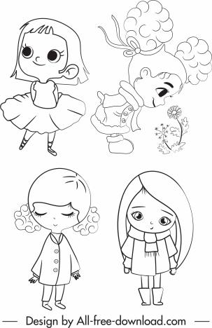 Little Girls Icons Cute Cartoon Character Handdrawn Sketch Vectors