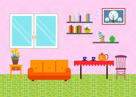 Living room arrangement sketch simple style vectors stock in format ...