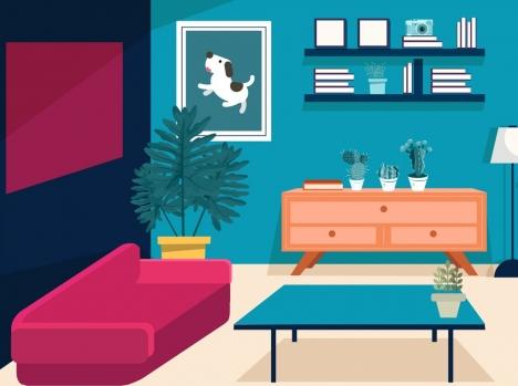 living room decor background furniture icons modern design