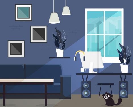 living room decor background modern furniture icons