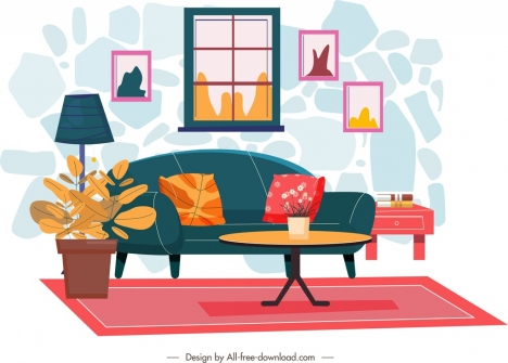 Living Room Decor Template Colorful Warm Design Vectors Stock In Format For Free Download 2 50mb
