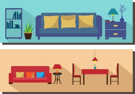 Living Room Furniture Scheme Sets Colored Flat Design Vectors Stock