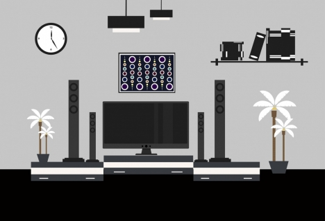 living room furnitures design silhouette black style