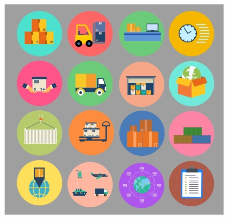 logistic icons isolated with symbols in circles