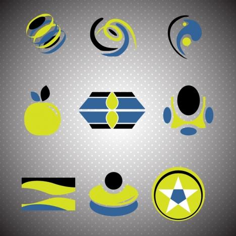 logo design elements design in blue black green
