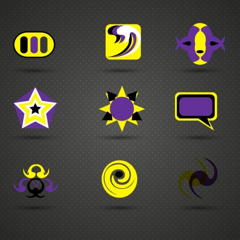 logo design elements design in yellow and violet