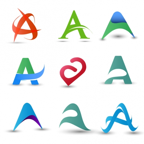 logo design elements design with abstract letter a vectors