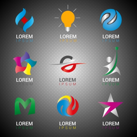 logo design elements in abstract icons illustration