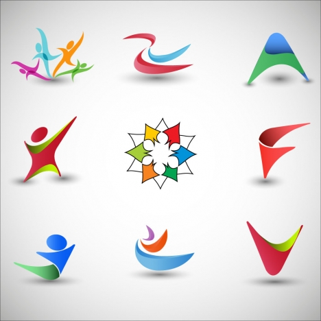 logo design elements with 3d curved abstract illustration