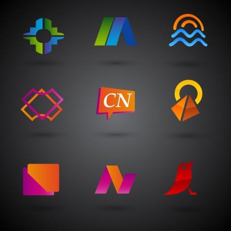 logo design in various shapes on dark background