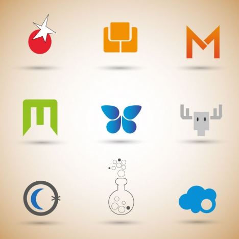 logo design sets with various colored design