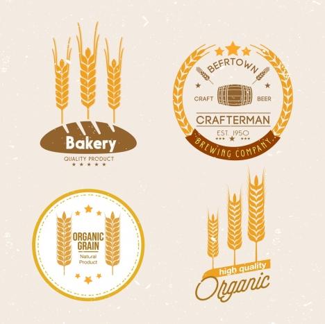 logo design yellow barley flowers icons retro design