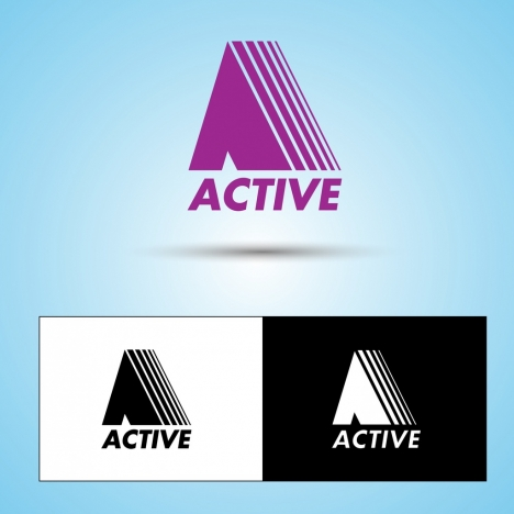 logo sets collection active style text symbol decoration